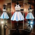 Sexy Short Prom Dress Light Blue Satin Skirt Two Piece Design Scoop Off The Shoulder Mini Off The Shoulder Homecoming Dresses