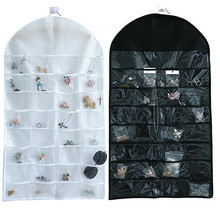 Купить с кэшбэком 46x81cm PVC Jewelry Packaging Bags Transparent Black White Color Earrings Necklace Display Case Jewelry Organizer Holder Pouches