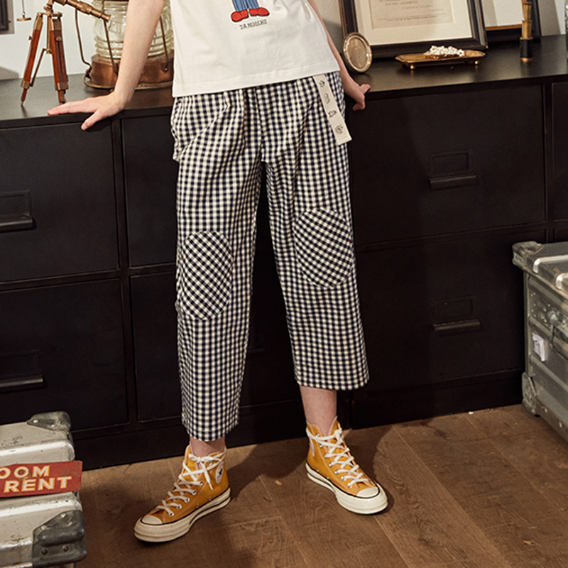 Fashion Design Plaid 2018 Elastic Waist Women Straight Pants Capris Cartoon Print Belt Calf Length Pants Summer Preppy Style 1