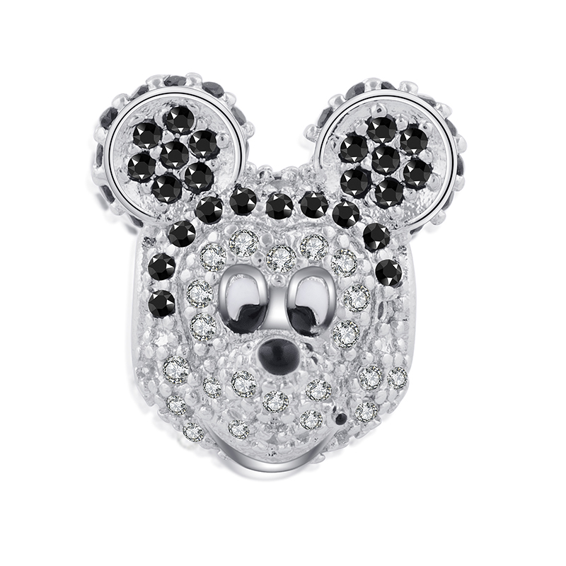 1pc Top Quality Large Hole Zircon Crystal Lovely Mouse Minnie Mickey Beads DIY Charms Bracelet Making Jewelry gift
