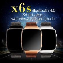 ใหม่นาฬิกาx6s smart watch hrmจริงอัตราการเต้นหัวใจบลูทูธสายหนังแท้SmartwatchสำหรับAndroid IOSสนับสนุนซิมการ์ดจีพีเอส