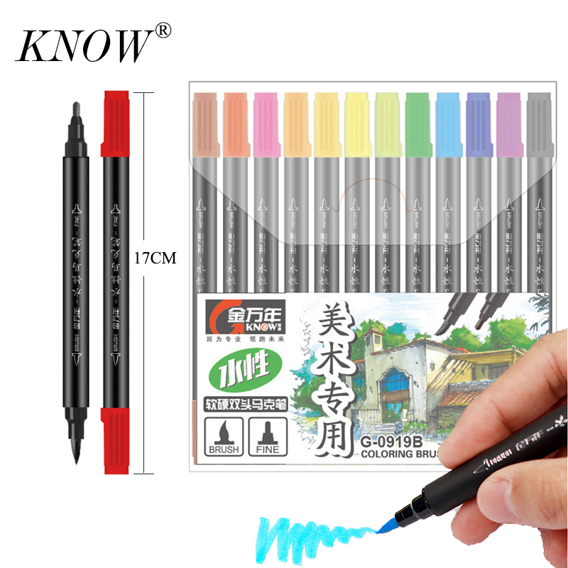 Känner till 36 färger Dual Head Sketch Art Markers Set Sketch Markers Pen Manga Ritning Markers Design Supplies penselpenna