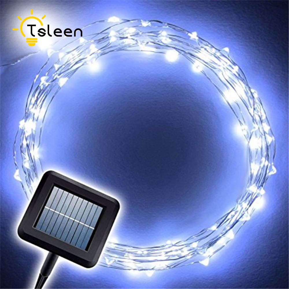 TSLEEN Solar Powered 100 Leds 33ft Copper Wire String Lights Camping Lamp Party Decors Xmas Tree Decorative Lampada фен elchim 8th sense sunset copper 03082 33