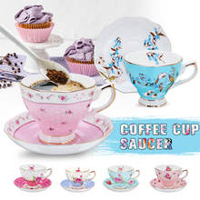 6 Style 240ml Blue Pink Porcelain Fashion British Bone China Coffee Cup Saucer Ceramic Flower Tea Set Teacup and Saucer Sets