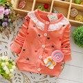 Spring 2015 new cotton baby girls cardigan coat spend three flowers Lollipops dot jacket cardigan kids children clothing