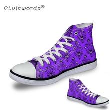ELVISWORDS; женская парусиновая обувь с изображением особняка с привидениями; дышащие женские повседневные кроссовки на шнуровке; женская обувь; Цвет фиолетовый; tenis feminino