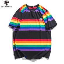 купить Aolamegs T Shirt Men Multicolor Stripe Harajuku Printed Men's Tee Shirts Short Sleeve T Shirt Simple College Style Tees Summer по цене 1041.45 рублей