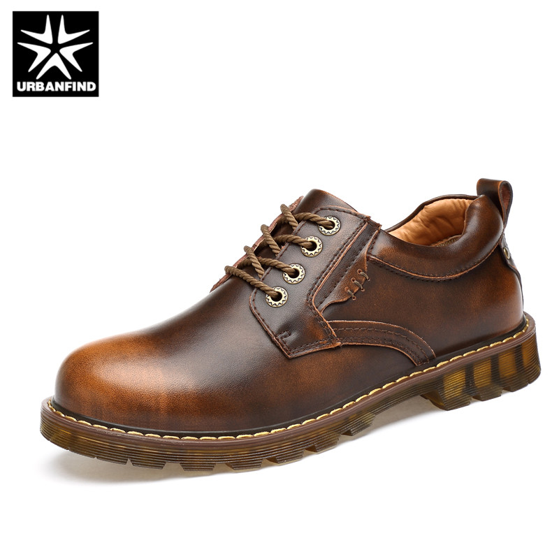 URBANFIND Men Genuine Leather Shoes Fashion Oxfords Size 38-45 Work Safety Boots Designer Male Leather Casual Shoes Black Brown fashion men s shoes yellow black brown europe style genuine leather male martin boots large size 45 casual flats huarche boty