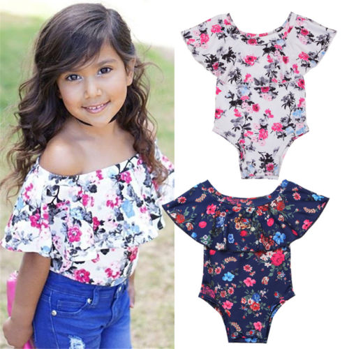 Newborn Baby Girls Flower Off Should Romper Outfits Clothes
