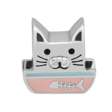 CKK 100% Genuine 925 Sterling Silver Curious Bowl Cat Beads Suitable For Original Pandora Bracelet DIY Jewelry Accessories