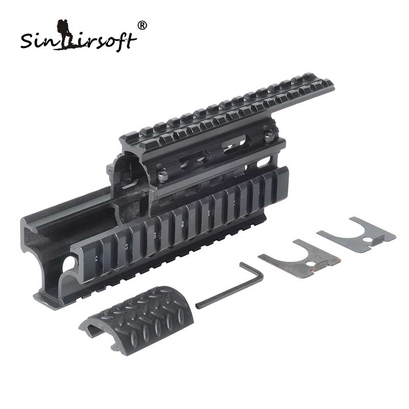 Model AK 47 Universal Tactical Quad Rail System Drop-in Handguard Picatinny Rails Forend SIS MNT-HG478SA ak 47 tactical quad rail picatinny handguard system cnc aluminum full length tactical for ak rifles 26cm hunting gun accessories