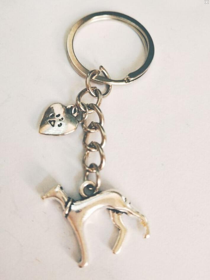 Greyhound/Whippet/Galgo Italian Greyhound Heart dog paw Keychain-Decorative Vintage Silver Pendant Decorative Key Chain Ring 300