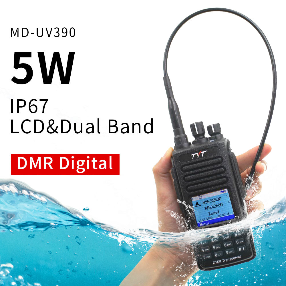 TYT MD UV390 DMR Digital Walkie Talkie UV390 IP67 Waterproof Dual Band UV transceiver GPS Optional Upgrde of MD 390 + USB cable-in Walkie Talkie from Cellphones & Telecommunications