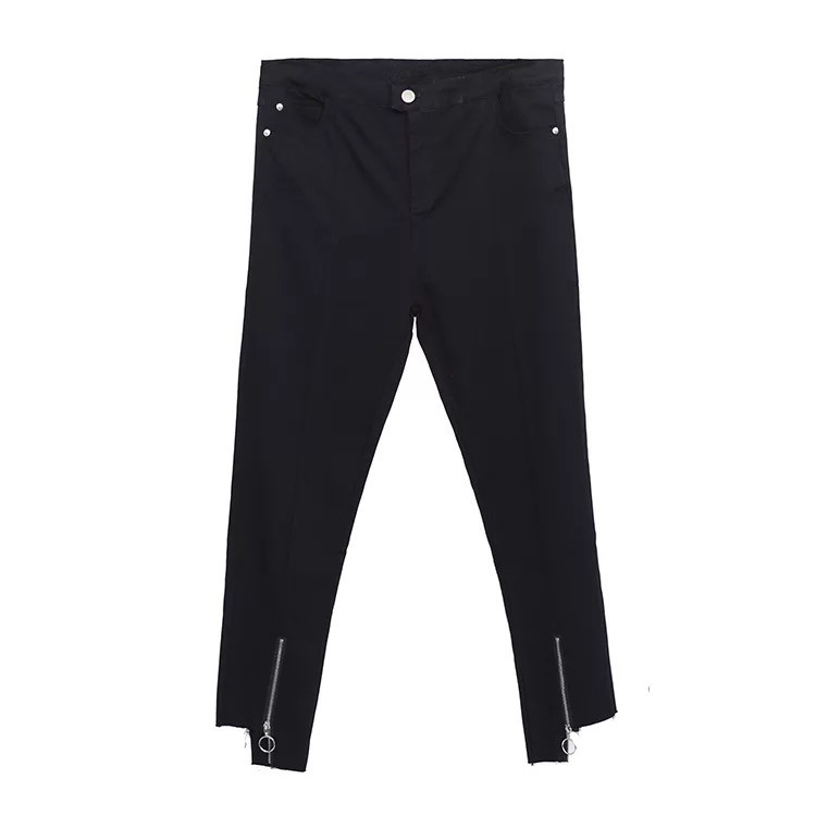 Black zip-up pants for fall plus size women