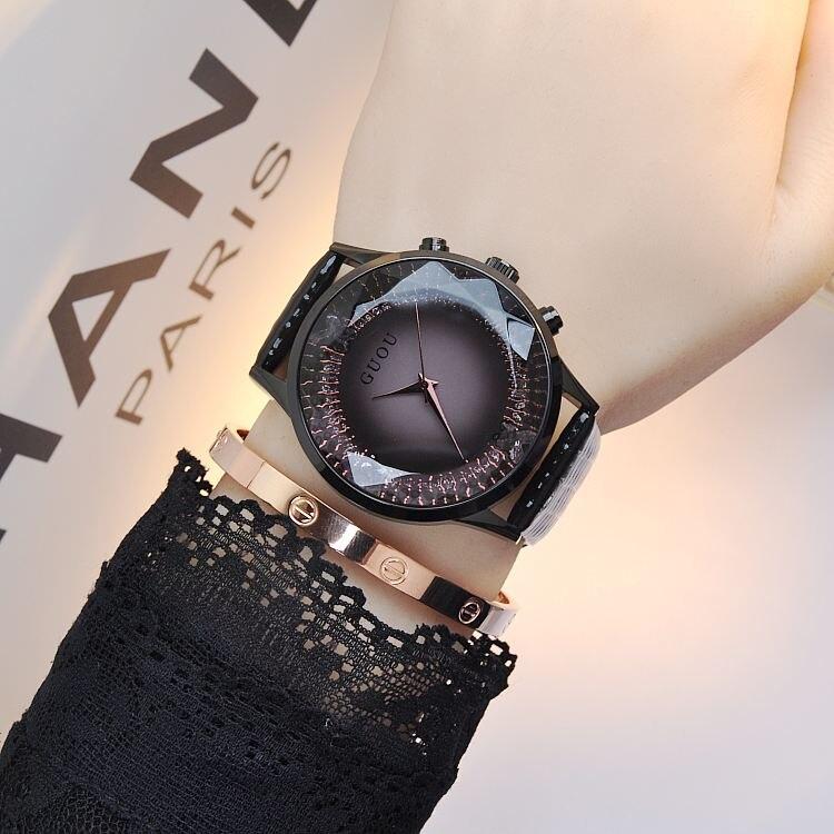 GUOU reloj mujeres de lujo de moda reloj de cuarzo reloj cuero genuino diamante mujer relojes relogio feminino