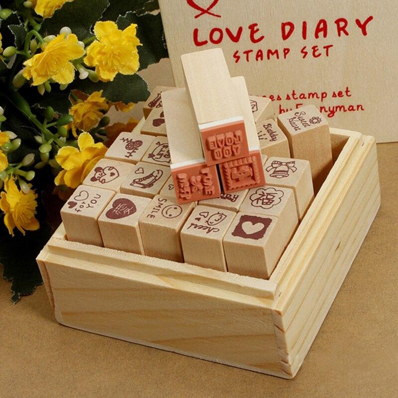 venta caliente encantadora unids antiguas cajas de madera del diario del amor patrn de sellos