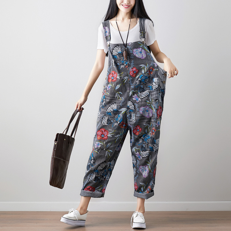 2019 Fashion European Style Street Vintage Loose Denim Jumpsuits Hip-hop Baggy Camouflage Rompers Suspender Floral Print Jeans Overalls 04290 Jeans