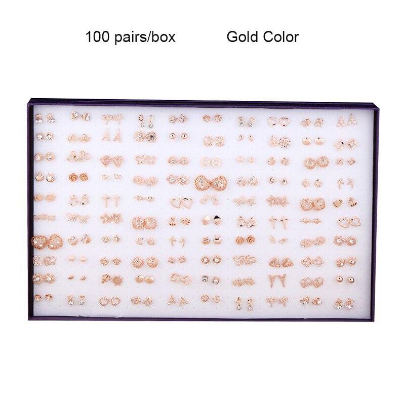 100 paires/boîte boucles d'oreilles en alliage or/argent à la mode brillant cristal strass belle croix coeur Effiel tour boucles d'oreilles ensemble