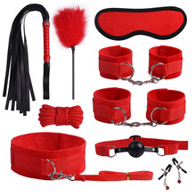 SM Game Suit Adult Handcuffs Ball Whip Kit Bondage Set Couple Sex Toys 10PCS G Spot Dildo Rabbit Vibrator tool