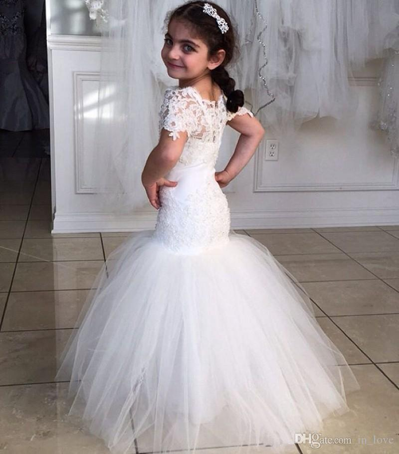Lace Mermaid   Flower     Girl     Dresses   New Coming 2018 Floor Length Fashion Wedding Pageant Gowns Sheer Short Sleeve Tulle Modern Love