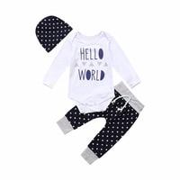 Newest Cotton Hello World Baby Boys Girls Romper Hat Pants 3pcs Clothing Sets Fashion