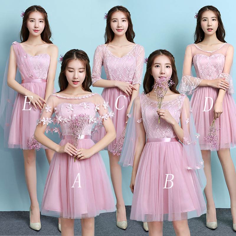 Mingli Tengda 2018 Bean Sand Elegant Short   Bridesmaid     Dresses   One Shoulder   Dress   for Wedding Party for Woman vestido madrinha