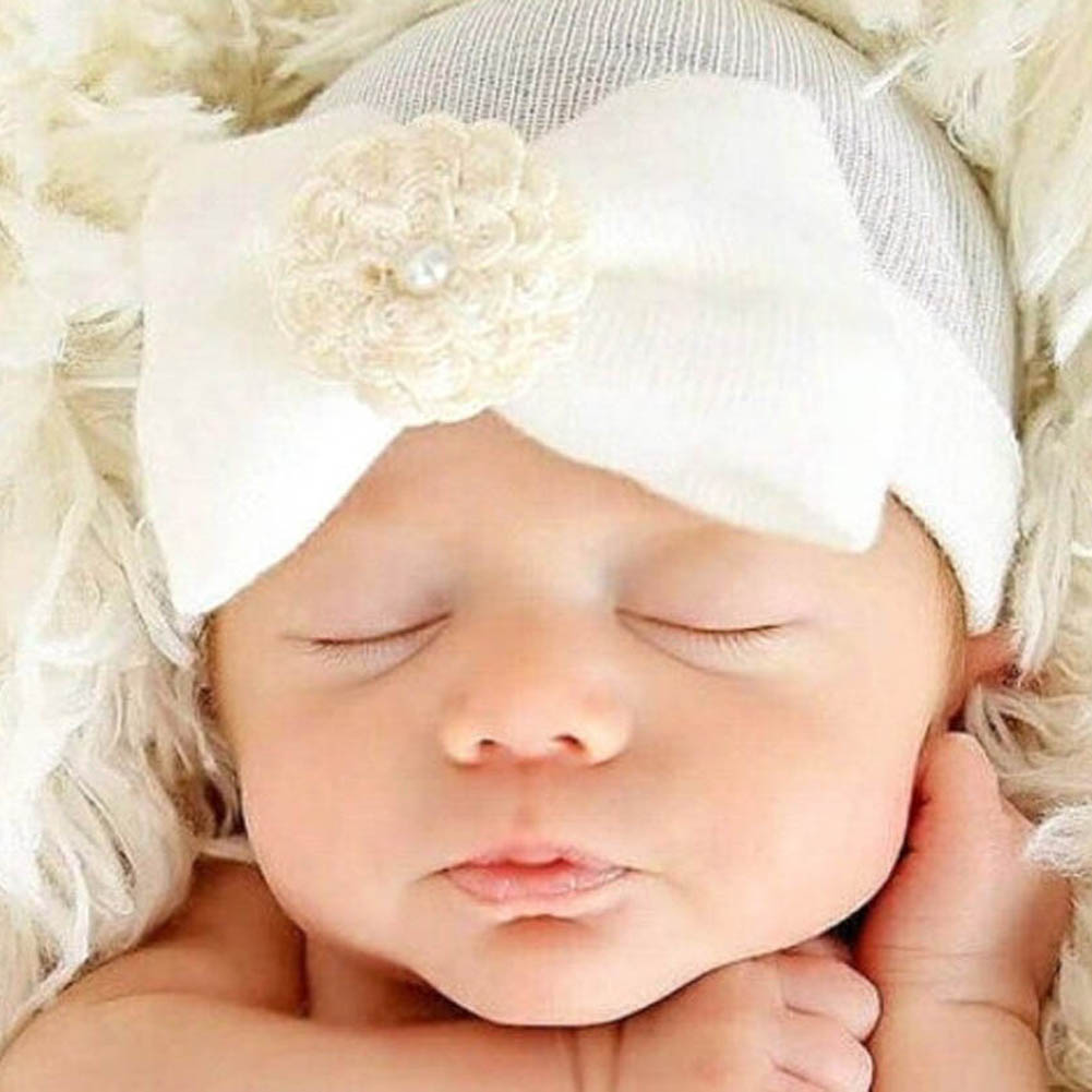 New Newborn Baby Cap Striped Soft Cotton Bowknot Flower Beanies Girl Accessories