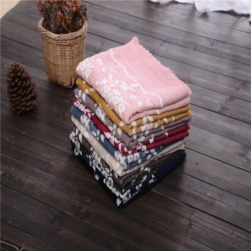 Embroidered Wavy Lace Tassels Hijab Cotton Women Scarf/scarves Wraps Fashion Muslim Foulard Bandana Free Shipping 10pcs/lot