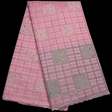 8 colors (5yards/pc) rhinestones fixed Swiss voile lace fabric elegant pink African cotton for party dress CLP108