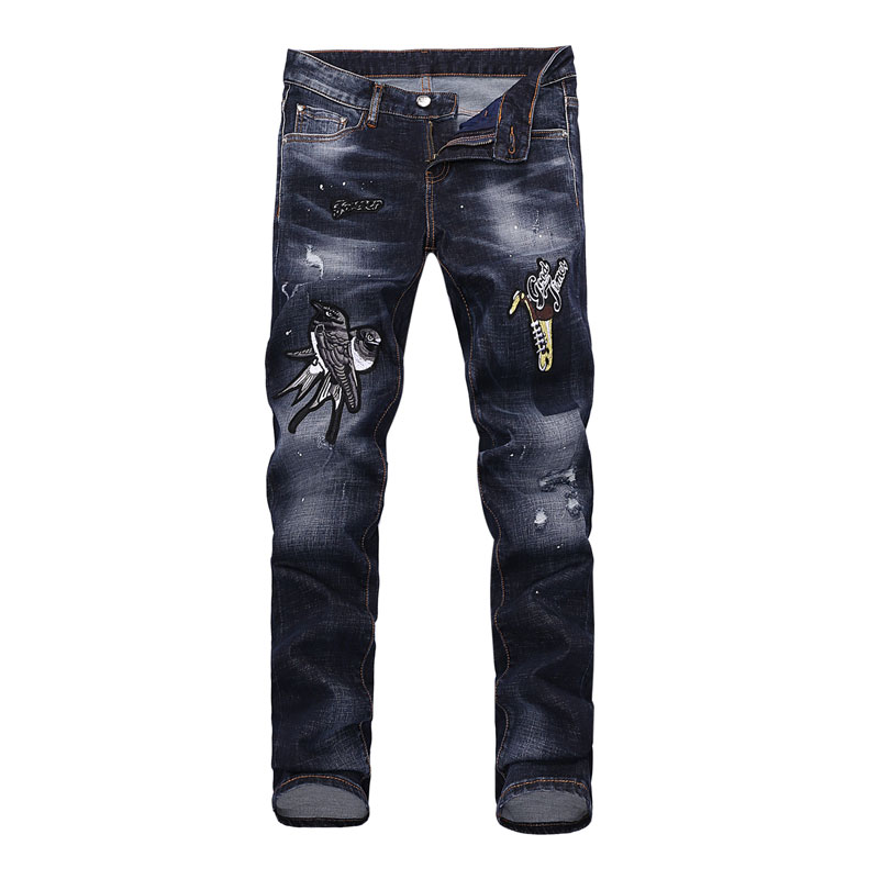 High Street Fashion Mens Jeans Designer Embroidery Elastic Skinny Fit Biker Jeans Men Denim Stretch Pants Brand Ripped Jeans 2017 fashion patch jeans men slim skinny stretch jeans ripped denim blue pants new famous brand mens elastic jeans f701