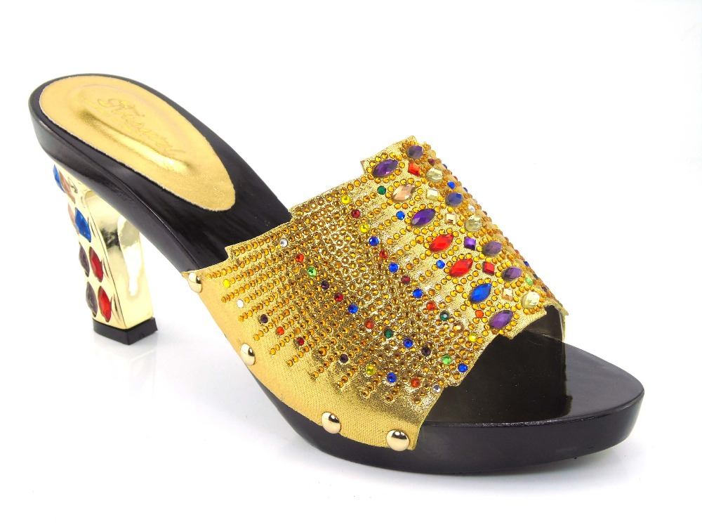 ФОТО New arrival colorful rhinestones design ladies pumps African sandal shoes for party size 37-43 Q1-54