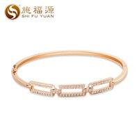 ShiFuYuan 2018 New solid 18k rose gold natural diamond trendy style cuff bracelets bangle fine jewelry for women S05855B