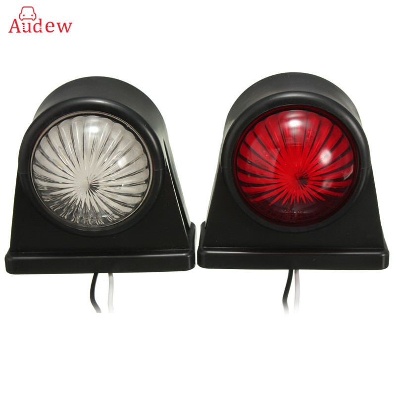 2Pcs 12V Rubber Outline Truck Trailer Lorry Caravan Side Marker LED Light Clearance Lamp Emark Position Stalk Lights Red White 2x 12 24v led side outline stalk marker light lamp e8 e mark trailer truck lorry