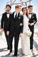 Новейшее пальто черный костюм мужской блейзер пляжный Свадебный Жених мужской костюм с брюками жилет Terno смокинг формальный приталенный пи