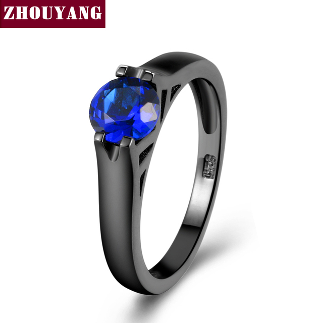 ZHOUYANG Ring For Women Man Simple Round Cut Blue Cubic Zirconia Black Gold Colo