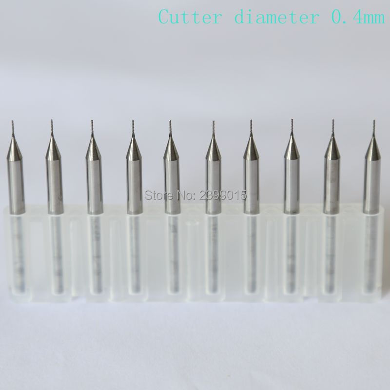 10pcs Tungsten Carbide Titanium Coating PCB Cutter 3.175 * 0.4mm, Miniature Engraving Milling Cutter, CNC Router Rotating Tool titanium coating pcb bit tungsten carbide 10pcs 0 5mm metal drill cnc router tools miniature sculpture step drill kit