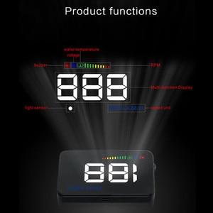 Image 2 - GEYIREN 2018 A500 HUD Auto Überdrehzahl Alarm Wasser Temperatur Alarm OBDII oder EU OBD interface Reflektierende Film Auto styling