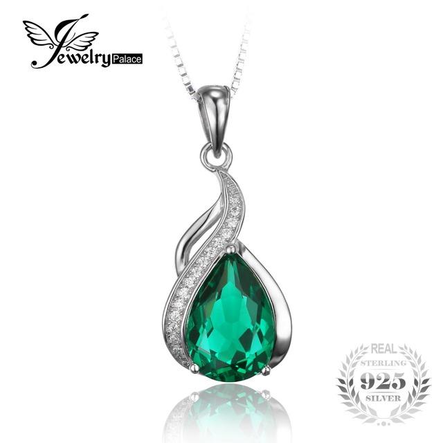 Jewelrypalace pêra 2.8ct criado verde nano russo emerald pingente 925 prata esterlina jóias finas não inclui uma cadeia