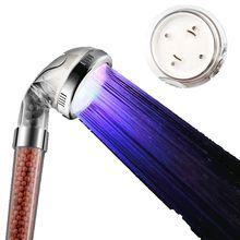 LED 샤워 헤드 2016 새로운 로맨틱 한 7 색 변경 또는 온도 제어 3 색 물 절약 목욕 스프링 쿨러 욕실