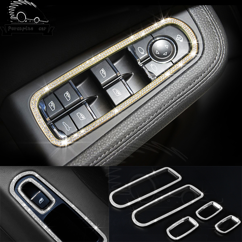 цена на 5pcs Accessory Door Switch Elevator Window Panel Decoration Buttons 3D Decoration Stickers For Porsche Cayenne Panamera Macan
