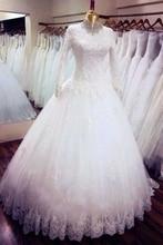 2016 Hijab Wedding Dress Long Sleeve White Islamic Wedding Gowns High Neck Beaded Lace Muslim Bridal Dress Ship by Aramex DHL