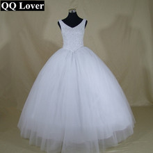 QQ Lover 2017 New Bling Bling Shining Crystals V-neck Ball Gown Wedding Dress Custom-made Bridal Gown Robe De Mariage