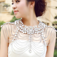 Himstory Luxury Long Rhinestone Necklace Chain Bridal Shoulder Necklace Chain Collar Crystal Chain Wedding Party Necklace