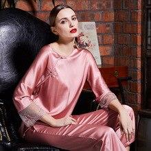 Pink 2 Piece Women Wear Ladies Soft Satin Lace Silk Pajamas Long Sleeves Womens Luxury Sexy Clothes High Fashion Sleepwear Set цены