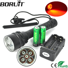 BORUiT 620nm 5 XPE Red LED Scuba Diving Flashlight Underwater 150M Diver Torch Light Waterproof Flash Light by 18650 Battery