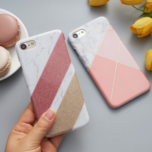 CreatValu Bling Glitter Granite Marble Contrast Color PC Hard Back Cover Case For iPhone 7 8 For iPhone 6 6S 7 Plus Cases