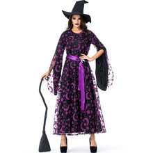 Deluxe Womens Purple Star Moon Magic Witch Costume Halloween Carnival Party Cosplay Clothing