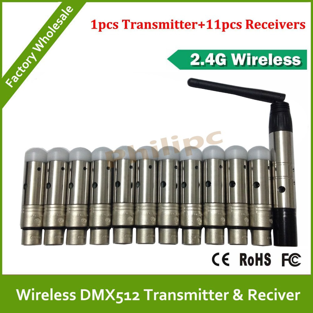 DHL  Free Shipping 12PCS/LOT DMX 512 Wireless Console Receiver,,1PC DMX 512 Transmitter +11PC DMX512 Receiver