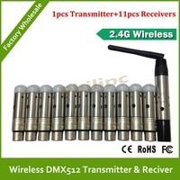 DHL  Free Shipping 12PCS/LOT DMX 512 Wireless Console Receiver  1PC DMX 512 Transmitter +11PC DMX512 Receiver