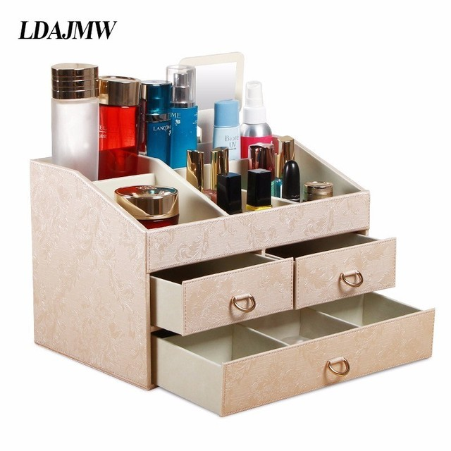 High Quality Household PU Leather Desktop Storage Box Assembly Cosmetics Storage  Box With Mirror Jewelry Organizers